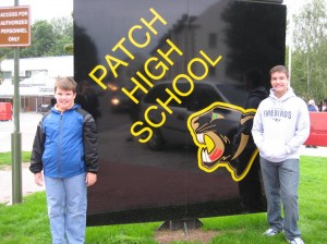 Andrew and Joshua in front of Patch High School (Patch Elementary School is located next to the high school.)