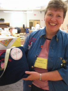 Mary Bellwood and her hand stitched button!