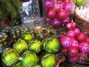 Gorgeous bright glass balls in chartreuse and magenta pink