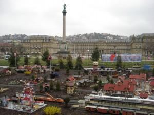 The Marktplatz in downtown Stuttgart with the miniature village and elaborate model trains.