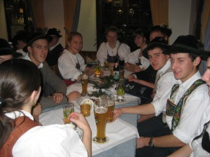 At the Gasthof Stern, a lively gathering of young men and ladies all dressed in traditional German clothing met to enjoy dinner together.