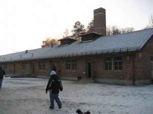 The crematorium. There were also gas chambers in this building which, according to records, were not used. No one knows for sure.
