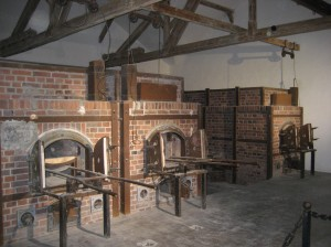 Bodies were cremated in these ovens until they ran out of coal near the end of the war. Hangings were also carried out in this room from the wood beams.