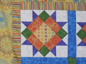 Close up of Halls mystery quilt