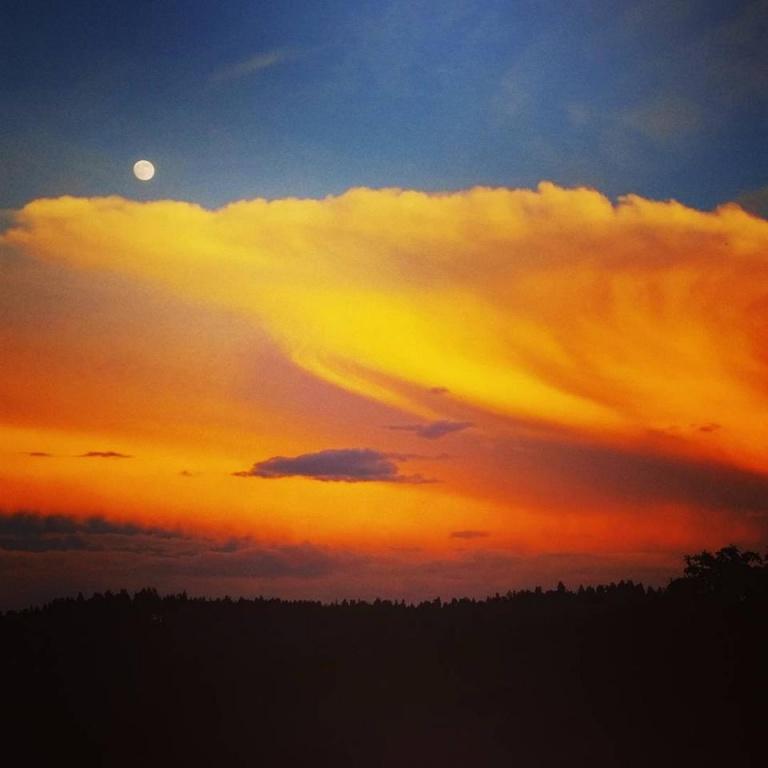 Lake Arrowhead sunset and blue moon
