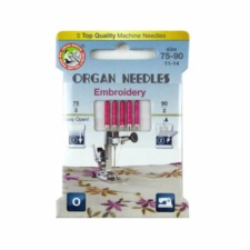 Organ Needles Embroidery Assortment (3ea 75, 2ea 90) Eco Pack